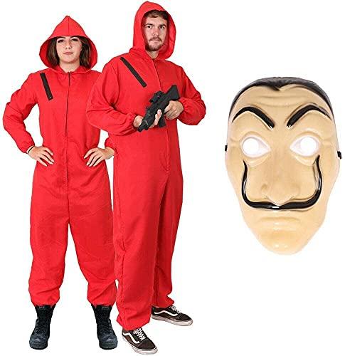 Costume da uomo unisex per adulti, con costume da rapinatore di denaro e maschera Salvador Dali, vestito da festa per la casa di papel