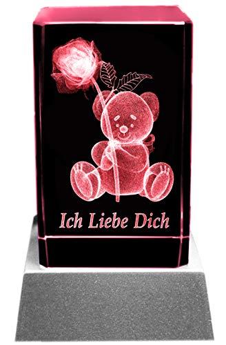 Kaltner Präsente Stimmungslicht – Ein ganz besonderes Geschenk: LED Kerze/Kristall Glasblock / 3D-Laser-Gravur Teddy Rose ICH LIEBE DICH