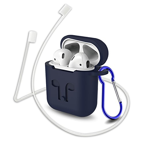 Compatible for AirPods Case with Keychain, Shockproof Protective Premium Silicone Cover Skin for AirPods Charging Case (Blue)
