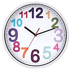 Wall Clock 12 Inch Silent Non Ticking Battery Operated Time Teaching Quartz Home Colorful Read Learn Time Perfect for Teacher's Classrooms and Kid's Bedrooms