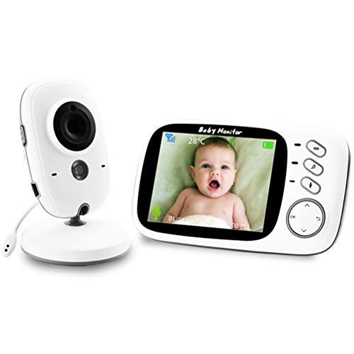 LIDIWEE Babyphone mit Kamera, 3,2 Zoll Kabellose Innenkamera mit Audio-Zwei-Wege-Video, Nachtsicht, Raumtemperatur, Schlaflieder, Weiß