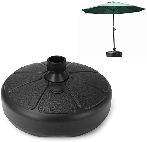 Parasol Base, Garden Umbrella Base Round Shape Plastic Parasol Base Stand,Water/Sand Fillable Outdoor Patio Yard Umbrella Sunshade Holder Stand Suitable for 35-38mm Umbrella Rod