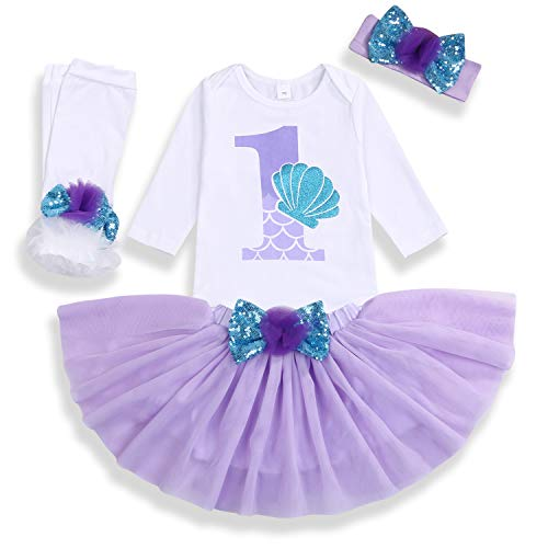 Baby Girls 1st Birthday Mermaid Outfit Romper Headband Leggings Tutu Dress Sequin Bowknot...