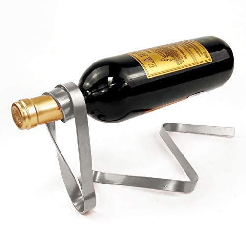 Magic Wein Flaschenhalter Weinhalter Weinflaschenhalter Dekorativer Flaschenhalter Weinhalter WeinflaschenhalterDie schwebende Flasche Weinregal Rack Stand Holder 32 × 17 × 14 cm (Silber)