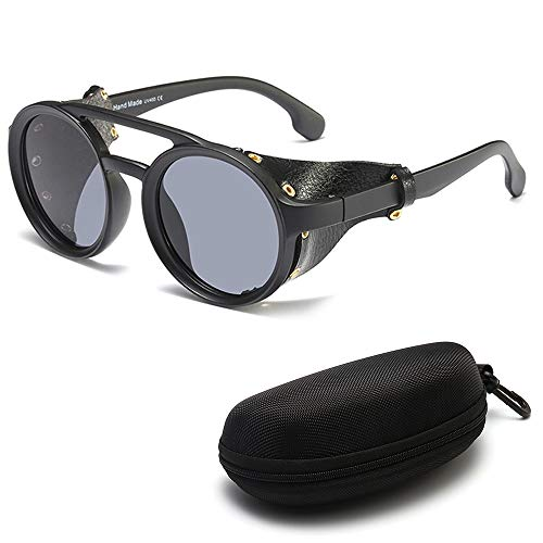 DASHAN Gafas de Sol Retro Redondas de Steampunk para Hombres Gafas Protectoras Laterales Gafas de Sol góticas,C4