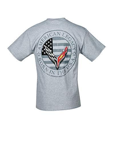 C8 Corvette Next Gen American Legacy Born in The USA Men's T-Shirt (XX-Large, Gray)