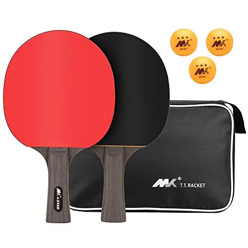 LangRay Tischtennis-Set, Tischtennisschlaeger Set, Pingpong Set Pingpong Schläger Tischtennisschlaeger Hülle, 2 Tischtennis-Schläger + 3 Tischtennisbälle + 1 Tragbare Tasche, für Anfänger und Profis