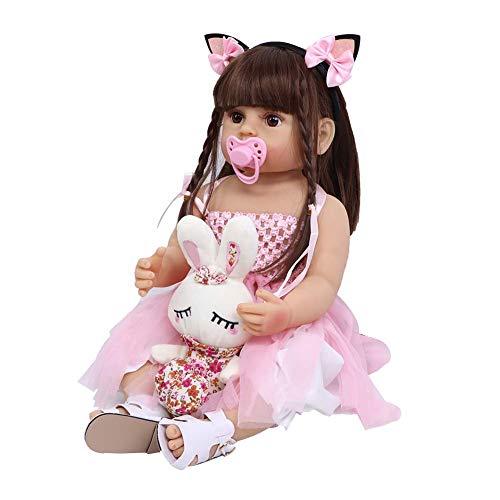 Reborn Baby Doll, 22'lebensechte realistische weiche Silikon hoch Simulation gewichteten Ganzkörper Schöne Reborn Baby Doll für Alter 3+ Geburtstag/Weihnachten Geschenke(1#)