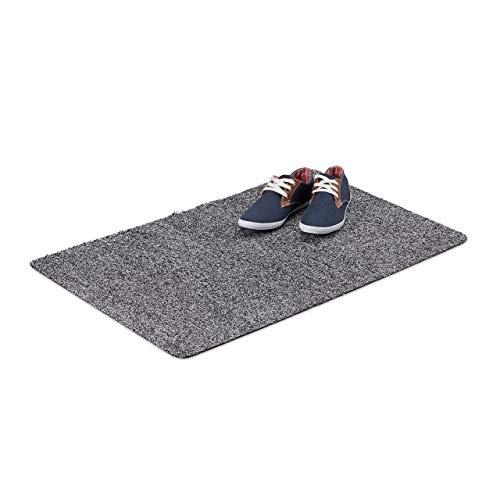 Relaxdays deurmat antislip, 60x90 cm deurmat van katoen, deurmat rubberen onderkant, grijs