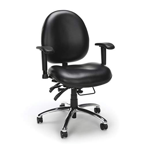 OFM Model 24 Hour Big and Tall Ergonomic Computer Swivel Task Chair with Arms, Anti-Microbial/Anti-Bacterial Vinyl, Black
