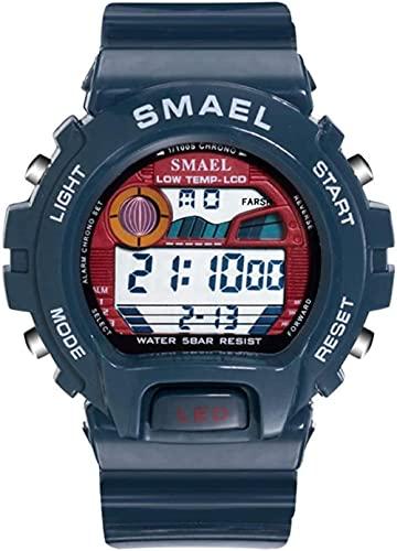 NLRHH Relojes Deportivos Digitales para Hombres Reloj Deportivo electrónico Impermeable LED Reloj electrónico multifunción Impermeable Peng para Hombres-Armada