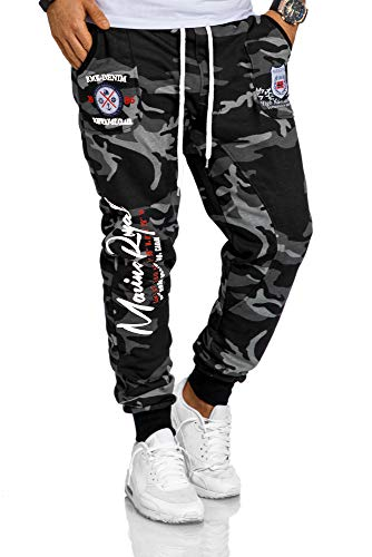 RMK Herren Hose Jogginghose Sweatpants Fitnesshose Trainingshose Streetwear H.536 (M, Camou-Weiß)