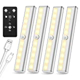 Wireless Under Cabinet Lighting Remote Control, SZOKLED Rechargeable LED Closet Light Dimmable Under Counter Light LED Strip Night Light Bar for Kitchen Shelf Hallway Stairs Display, Warm White 4 Pack