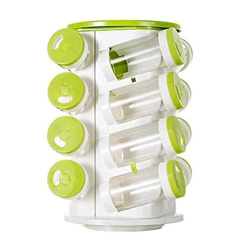 Boner Kruidenpot Peper Shaker Doos Kruiden Blikjes Peper Zout Cruet Plastic Fles Keuken Kruidenrek Set 16 Stuks Potjes 1 Pc Rek, Groen