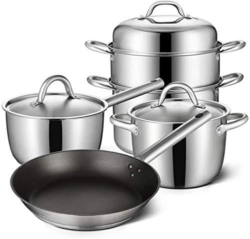Conjunto de Cacerolas Antiadherentes Pan friurador de acero inoxidable para el hogar Potes sin recubrimiento Potes sin recubrimiento para cocinar el fondo de múltiples capas compuesto Fácil de limpiar