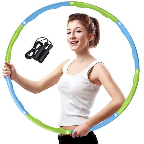 Aoweika Hoola Hoop Reifen Erwachsene, Fitness Hula Reifen Hoop zur Gewichtsreduktion, 6-8 Segmente Abnehmbarer Kinder Hoola Hoop für Fitness Sport Zuhause BüRo Bauchformung (Blau & Grün)
