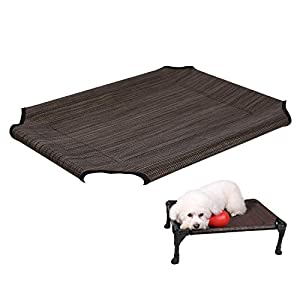 Veehoo Cooling Elevated Dog Bed Replacement Cover, Washable & Breathable Pet Cot Bed Mat, Small, Brown