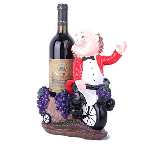 Statue figuur sculptuur beeldje, modern creatief hars oude fietsen rode mannen grape winkelmandje wijnrek gentleman wijnhouder kunst ornament voor Office Living Room Bar Cafe Home Decoration