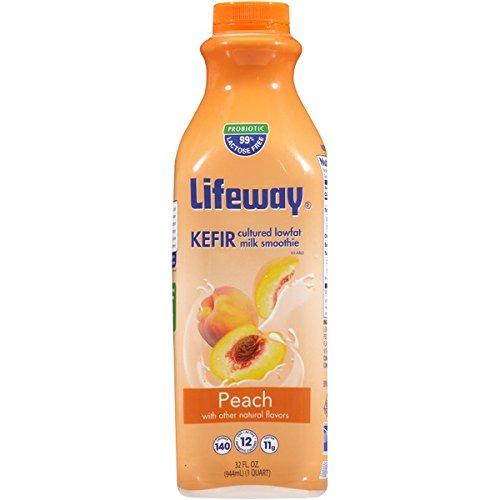 Lifeway Organic Lowfat Kefir, Peach, 32 Ounce (Pack of 06)