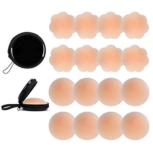 Kodior Nipple Cover - Silikon Nippelabdeckung Nippel Abdeckungen Klebstoff Trägerloser Brustwarzenabdeckung Selbstklebend Wiederverwendbar Brust Aufkleber Unter BH (Beige-4F4R)