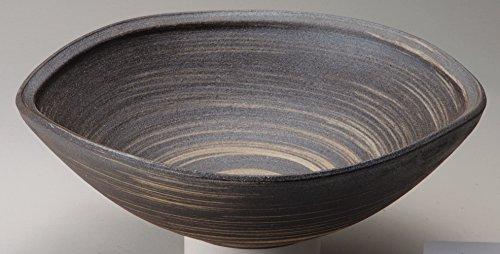 信楽焼陶器 いぶし白刷毛目手洗鉢 置型 横幅35cm 372-01