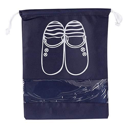 10 UNIDS Bolsas de Zapatos de Viaje Impermeable Transpirable Viajes Protable Organizador Plegable Portátil A Prueba de Polvo Transparente Windowwith Almacenamiento de cordón con cuerda para