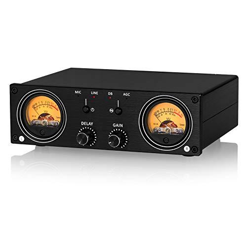 Medidor de nivel de sonido dual con indicador de nivel de sonido, pantalla RCA/XLR, caja de conmutador de audio