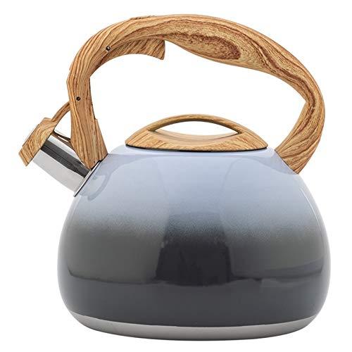 GO-AHEAD Kettle, Tetera de té de Acero Inoxidable Tetera de la Tetera de Tetera con Mango de Madera Anti-Calor Estufa Gas (Color : As Shown)
