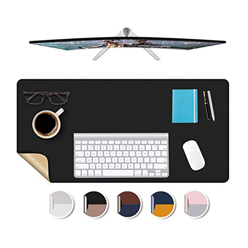 """Desk Mat Plastic Office Home Table Pad Protector Blotter Mats Writing Desk Topper Protector with Mouse Pad for Laptop Computer Desktop Keyboard Pads Multifunctional Mat Wipeable PVC 24x48""""(Black+Gold)"""