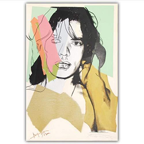 YF'PrintArt Impresiones En Lienzo, Carteles De Arte De Pared De Andy Warhol Mick Jagger, Murales Utilizados En La Sala De Estar, Dormitorio, Dormitorio De Los Niños -50X70Cm Sin Bordes,(A322)