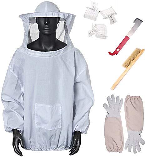 Bijenteelt Starter Kit Bijenteelt Apparatuur Tool Inclusief Bijenteelt Suit Jas Handschoenen, Bijen Hive Borstel, Queen Catcher, Haak Hive Geweldig voor Professionele Beginner Bijenhouders