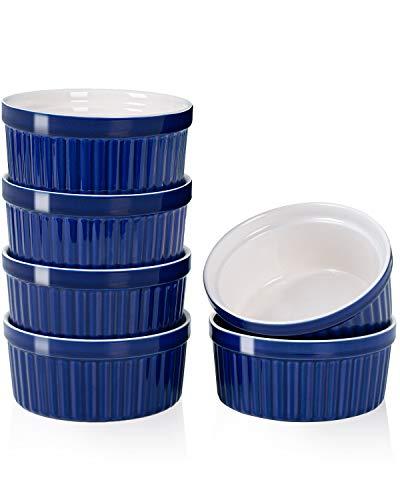 Delling 12 Oz Ramekins Set - Porcelain Souffle Dish - Creme Brulee Ramekins Oven Safe - Ceramic Ramekins for Baking, Pudding, Dessert Bowls Set of 6, Navy