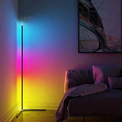 QJUZO LED Stehlampe Dimmbar mit Fernbedienung 20W Stehleuchte für Wohnzimmer Schlafzimmer Farbwechsel Lichtsaeule RGB Farbtemperaturen und Helligkeit Stufenlos Dimmbar