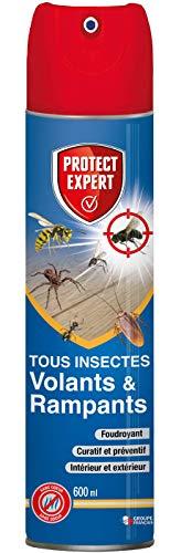 PROTECT EXPERT VOLRAMP600 Foudroyant Insectes Volants 600ml Moustiques, Mites Alimentaires Rampants Fourmis, Puces Double Action Curative Et Préventive, Fabriqué en France