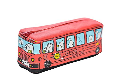 oyfel Federmäppchen Schule Bus Pen Tasche Reißverschluss Canvas für Jungen Mädchen Make-up...