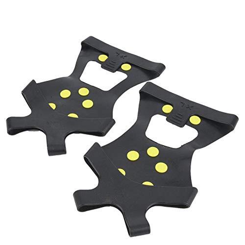 Gaeirt Tacos de tracción Ice Snow Grips 10 Dientes Sistema de tracción Duradero y liviano Crampones para Calzado, Botas(L)