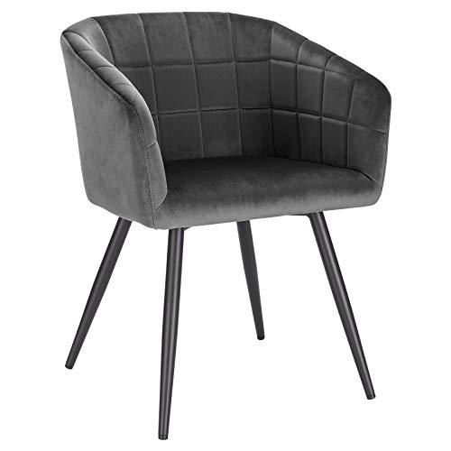 WOLTU BH260dgr-1 1x Esszimmerstuhl Wohnzimmerstuhl Küchenstuhl Relaxstuhl Designer Stuhl mit Rückenlehne und Armlehnen aus Samt und Metall Dunkelgrau