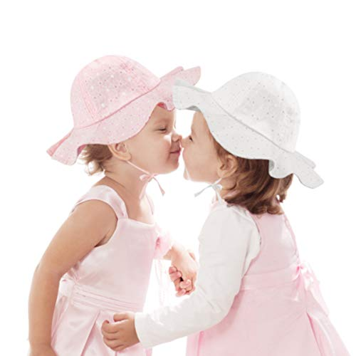 2 Pezzi Cappelli da Sole per Bambino, Cappello Estivo da Sole per Protezione UV per Neonate Cappello di Protezione Solare con Ampia Visiera (12-36 Mesi)