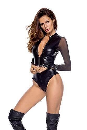 Erwachsene Frauen glänzendes Leder PVC Latex Jumpsuit Mesh Gaze Overall Pole Dance Nachtclub Wild Dance Spielanzug Club Party Cosutme-Black-S