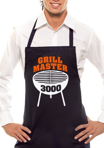 Comedy Grill Tablier de Barbecue Master 3000 – Bicolore – Noir/Orange/Blanc