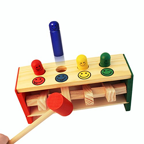 Children Wooden Toys Pounding Bench Wooden Hammering Bench Educational Strike Trapeze Toys with with 4 Smile Face Hammer Pegs 1 Mallet Game for Baby Kids Toddlers