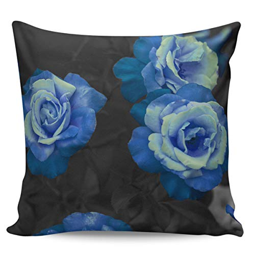 Scrummy Throw Pillow Covers 18' x 18' Elegant Blue Rose Romantic Dreamy Flower Decorative Pillowcases Square Cushion Cover for Home Decor
