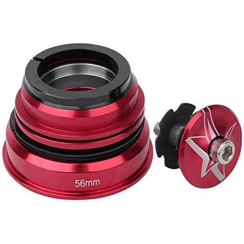 Auriculares con vástago de horquilla delantera de bicicleta 44mm-56MM Juego de auriculares con rodamiento de aleación de aluminio MTB Bicicleta de montaña Reemplazo de auriculares(Rojo 44 / 56MM)