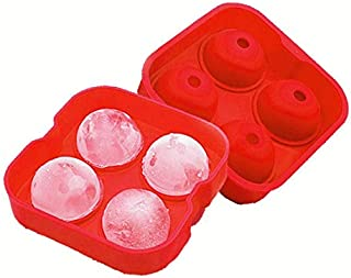 Ice Cube Tray - Sphere Ball Ice Cubes for Whiskey - Red Four Sphere Mold (1 Pack)