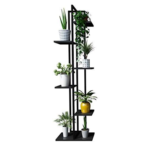 Stendibiancheria in ferro a 6 strati con supporto per fiori / soggiorno Balcone e pianta da interno con supporto in metallo Cornice in metallo Bonsai espositore da terra Dimensioni 40x40x145 cm nero