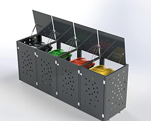 Ihre Mülleimer Werden zur Deko, Mülltonnenbox Blumen, Mülltonnenboxen, Mülltonnenbox 4 tonnen, Mülltonnenbox Metall, Mülltonnenbox 4er 240l (Grau)