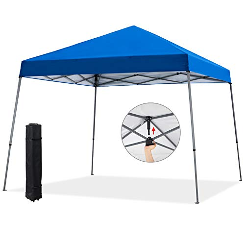 COOSHADE 12x12ft Slant Leg Pop Up Canopy Tent,Easy One Person Setup Instant Sun Protection Beach Shelter,Portable Sports Cool Cabana(Blue)