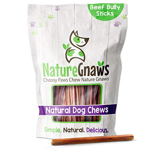 Nature Gnaws Small Bully Sticks for Dogs - Premium Natural Beef Bones - Thin Long Lasting Dog Chew Treats for Light Chewers & Puppies - Rawhide Free - 6 Inch (15 Count)