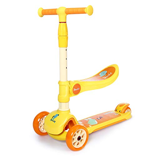 Scooter for Kids with Seat Ages 2-6, Doufit SC-01 Scooter 3 Wheels Light up with Adjustable Handlebar and Foldable Seat for Boys & Girls