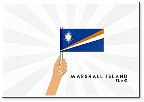 Illustratie van de menselijke handen houden Marshall Island Vlag Classic Koelkast Magneet